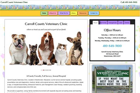 Carroll County Veterinary Clinic Website